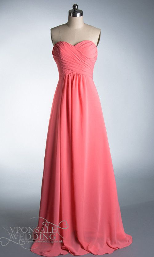 Pretty long coral strapless bridesmaid dress dvw0177 for Coral wedding bridesmaid dresses