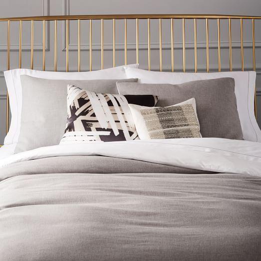 Cotton Cashmere Duvet Cover Shams Heather Gray West Elm Bed Linens Luxury Home Duvet Covers