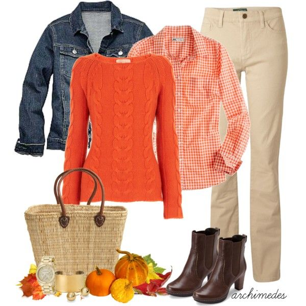 """""""Pumpkin Festival"""" by archimedes16 on Polyvore --- yes to pretty much all of it. leather jacket and jeans though. i dislike jean coats and khakis."""