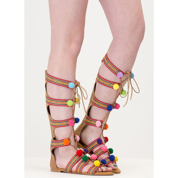 6d0e053b97c3b Pom Dot Com Tribal Gladiator Sandals ( 31) ❤ liked on Polyvore featuring  shoes