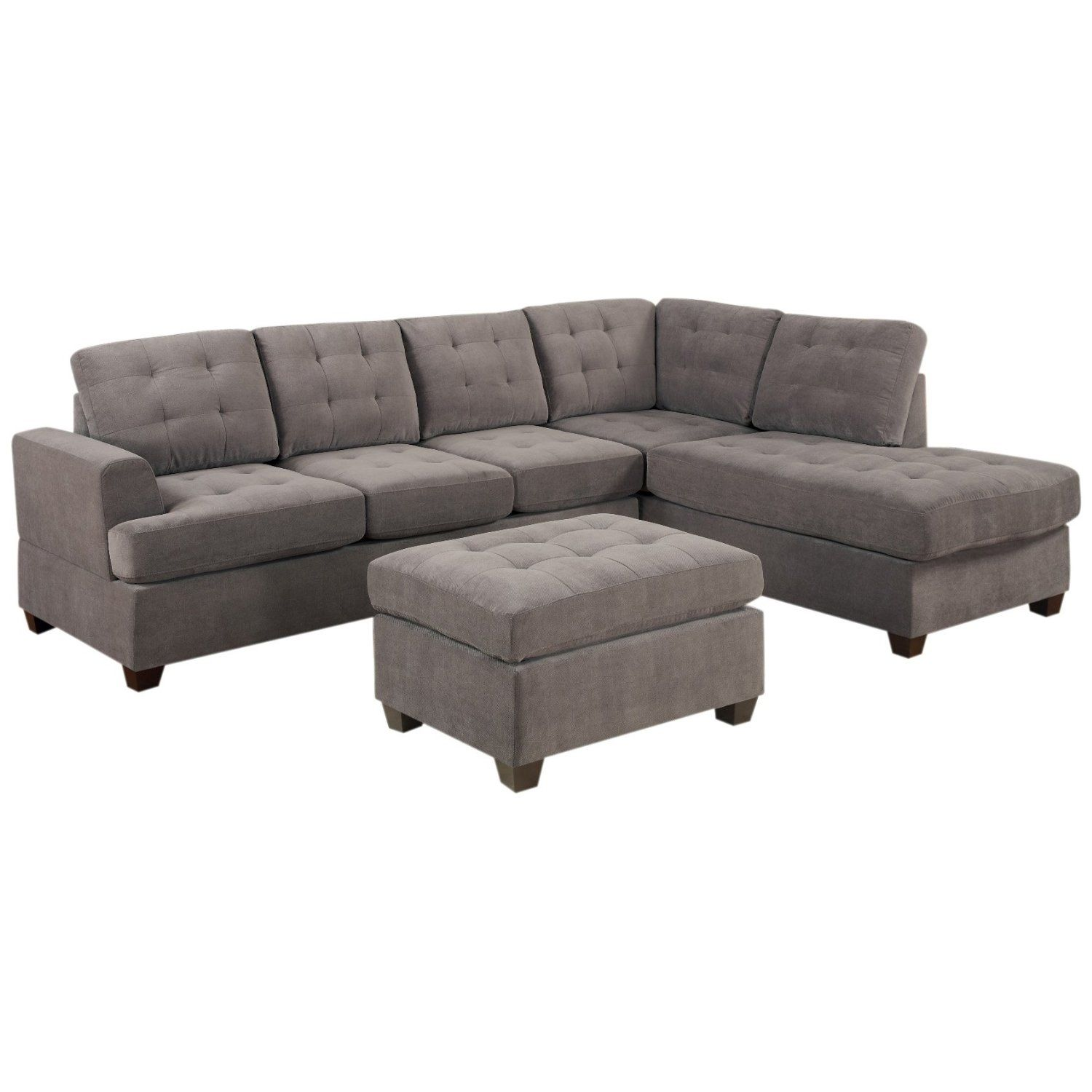 Amazon Couch Tufted Sectional Sofa Couch With Chaise Ottoman Sofa