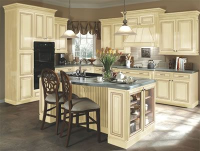 Kitchen Example Displaying The Armstrong Cabinet Style Sedona With The  Vanilla Cream Taupe Glaze Finish