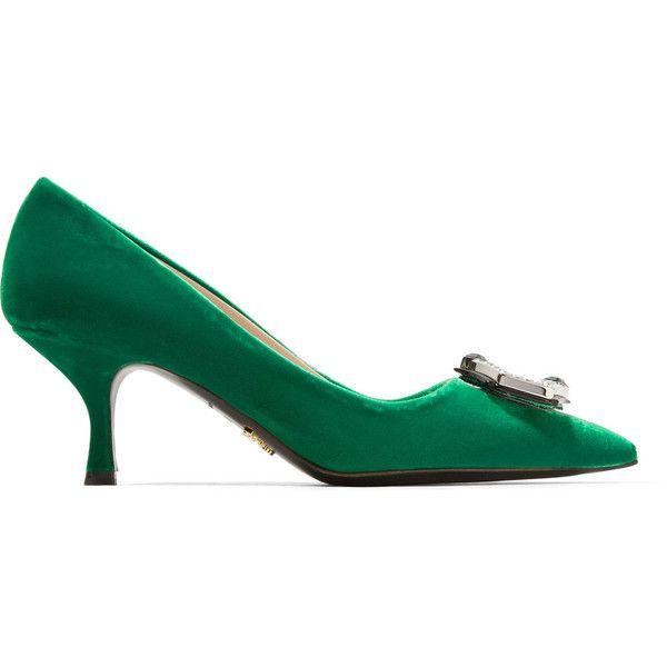 Prada Crystal-embellished velvet pumps (7.160 NOK) ❤ liked on Polyvore featuring shoes, pumps, slip on shoes, kitten heel shoes, velvet pumps, slip on pumps and prada footwear