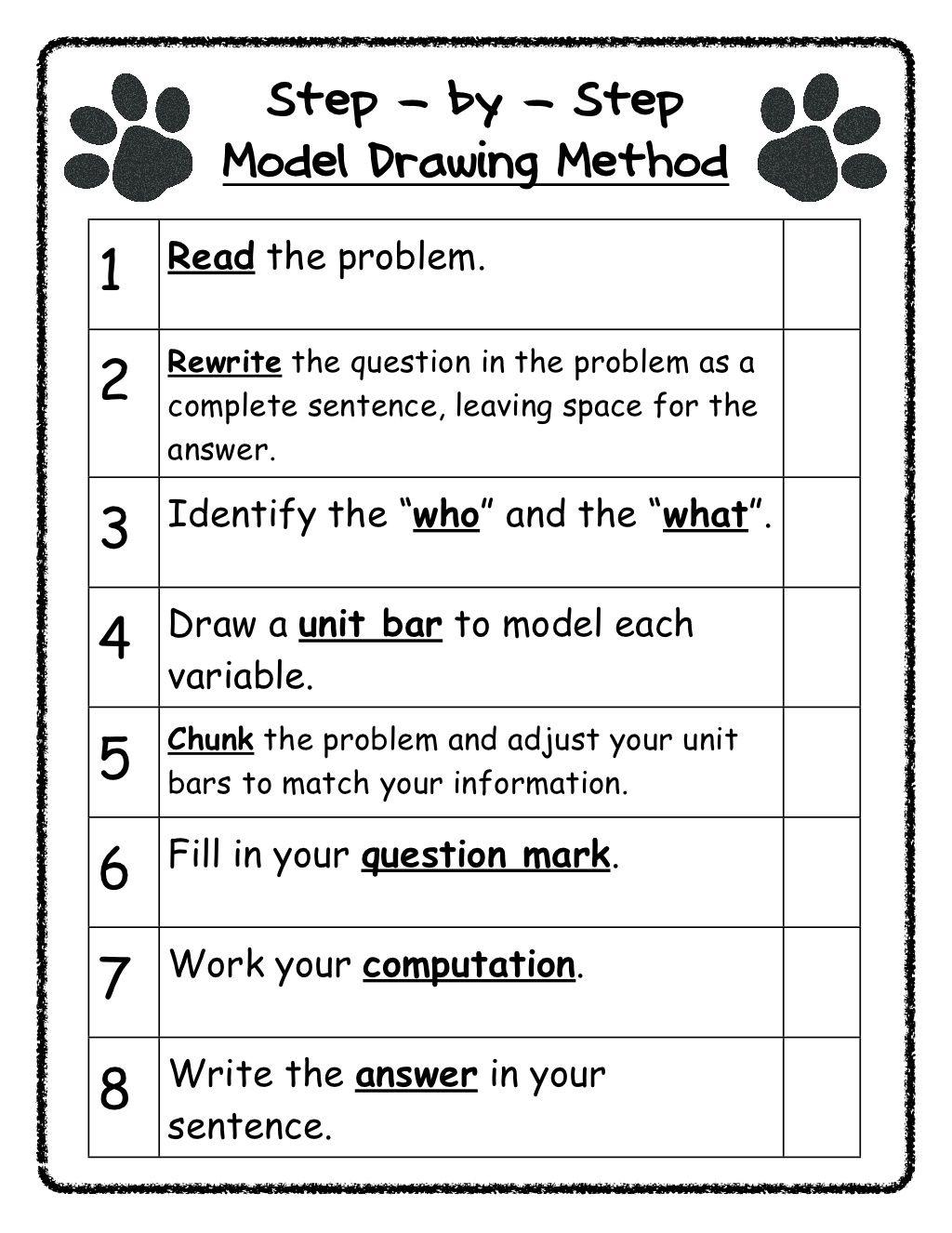 Bar Diagram Worksheet