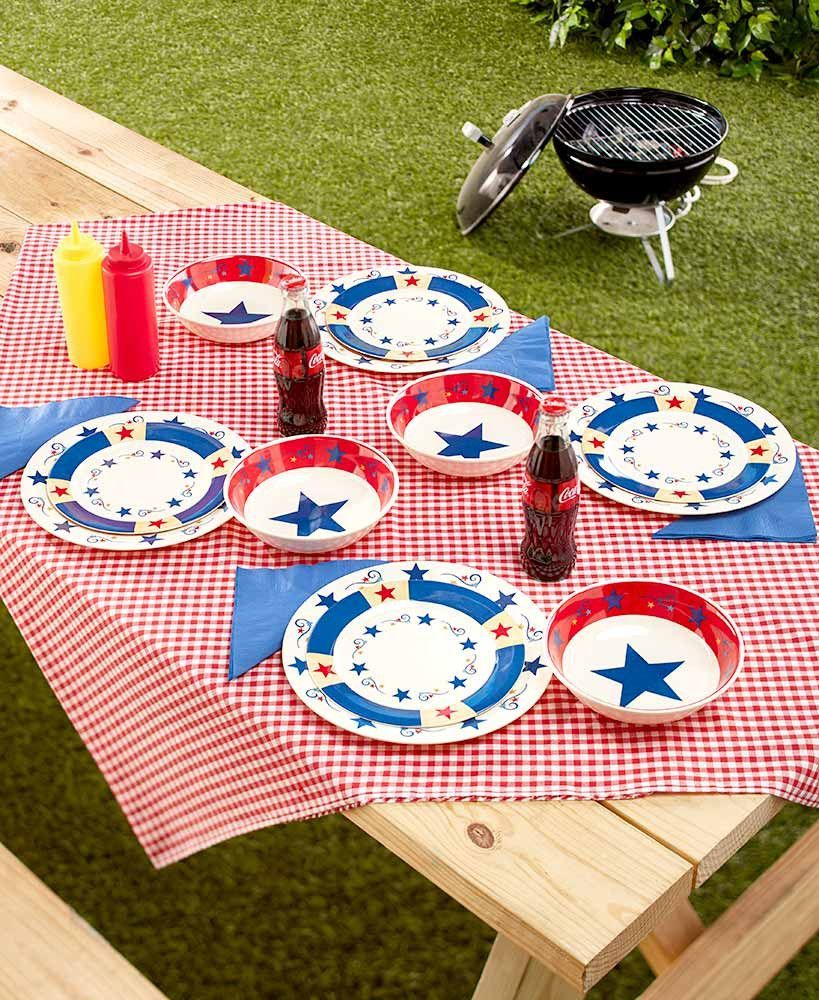 Americana Patriotic Melamine Dinnerware Set Red White Blue Durable