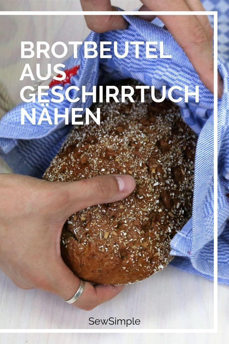 Photo of Brotbeutel aus Geschirrtuch nähen: Bildanleitung