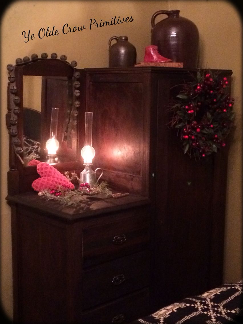 Antique armoire I redid and added to my bed chamber/ bedroom. Dressed for valentines Day By: Ye Olde Crow Primitives