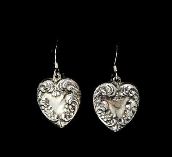 Art Nouvea Style Silver Heart Dangle Earrings by PremierAntiquesNY