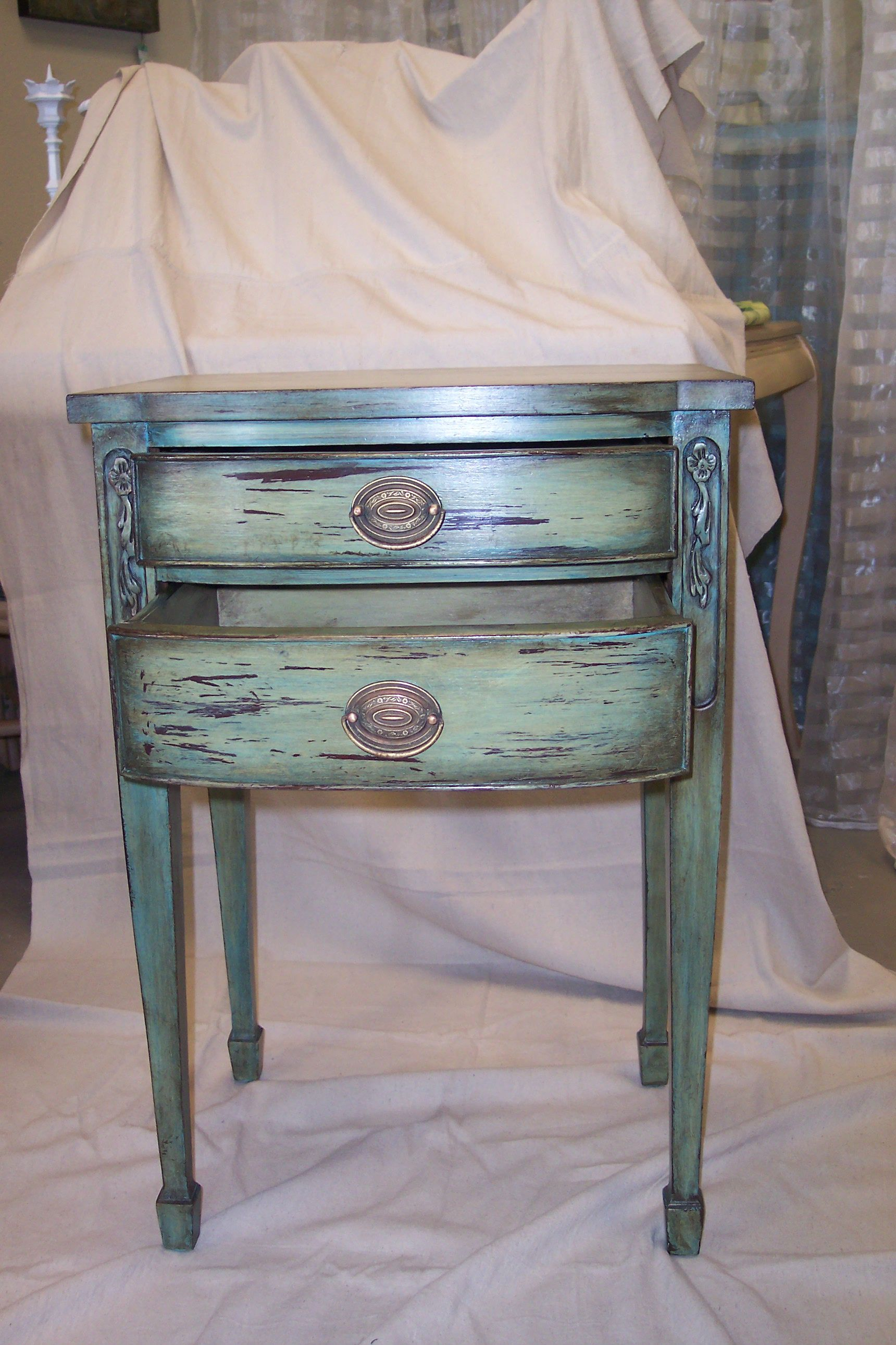 Painted Vintage Side Table In A Distressed Finish Painted Side