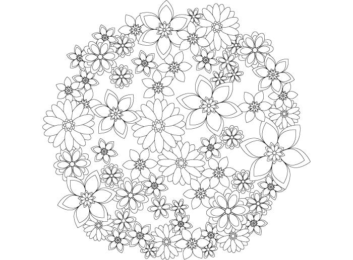 コロリアージュ初心者にも比較的塗りやすい、花をモチーフにした塗り絵