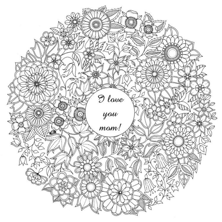 Adult Coloring Page Mothers Day Flowers 1