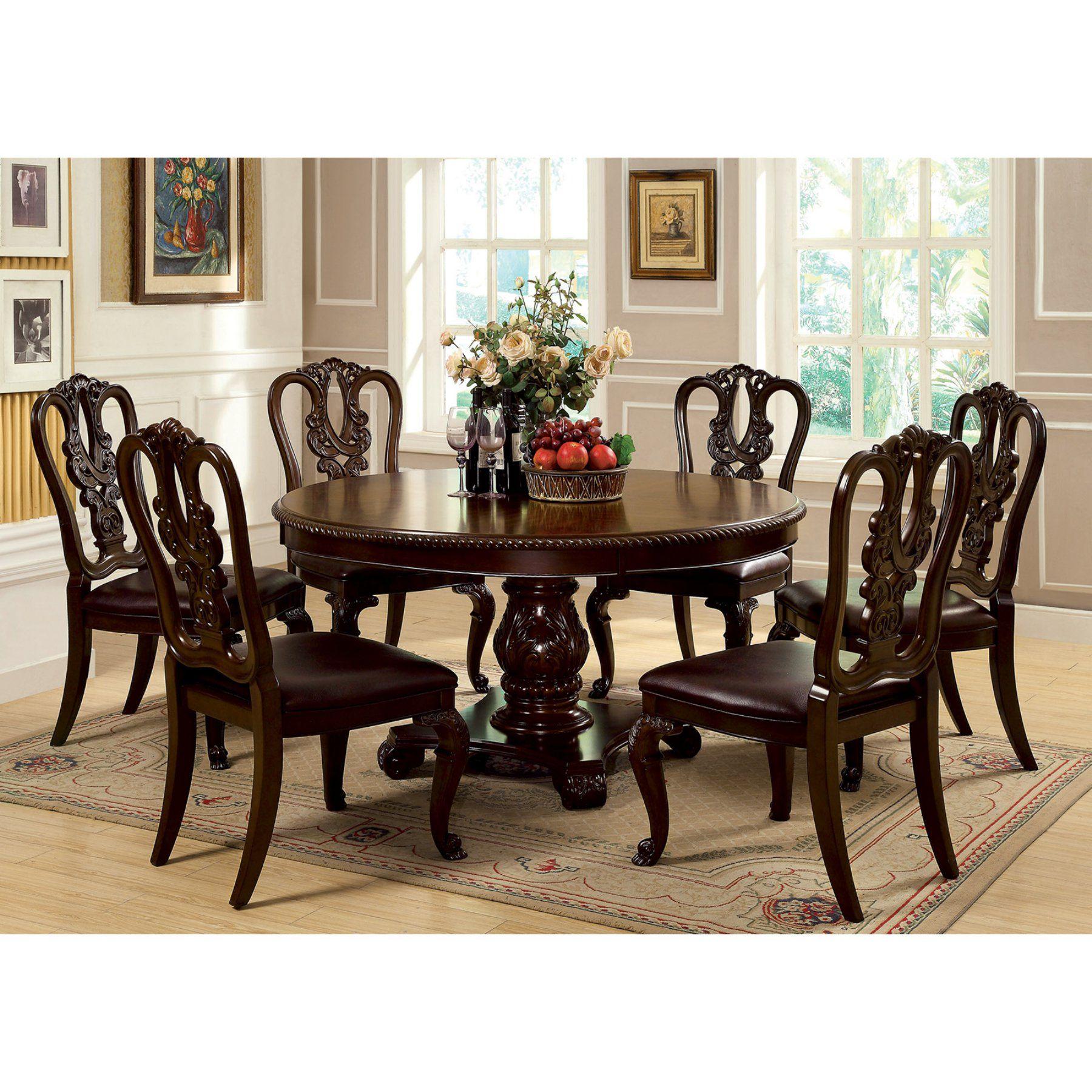 Furniture Of America Berkshire 7Piece Round Dining Set With Amusing 7 Piece Round Dining Room Set Inspiration