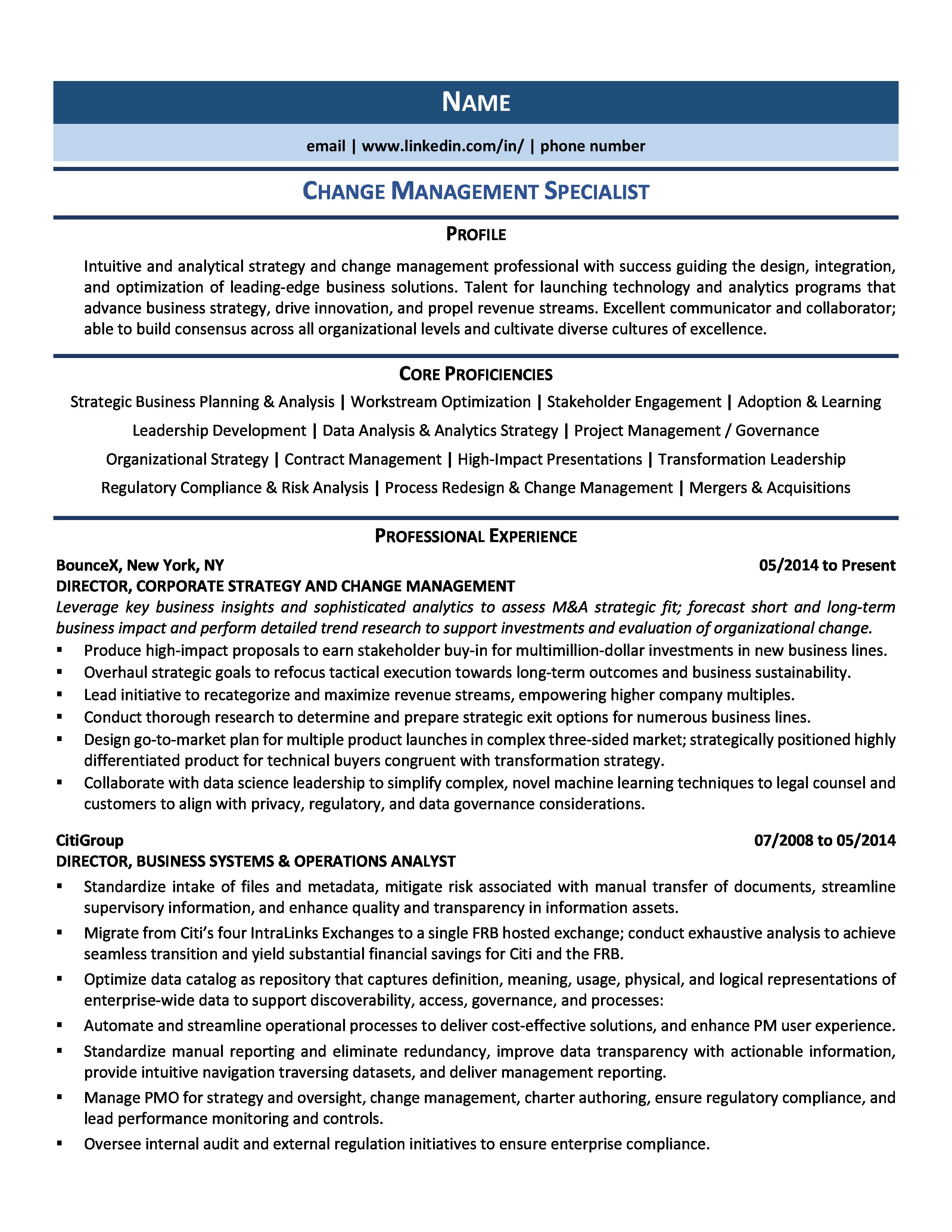 Change Management Specialist Resume Samples Template For 2020 Change Management Resume Examples Resume