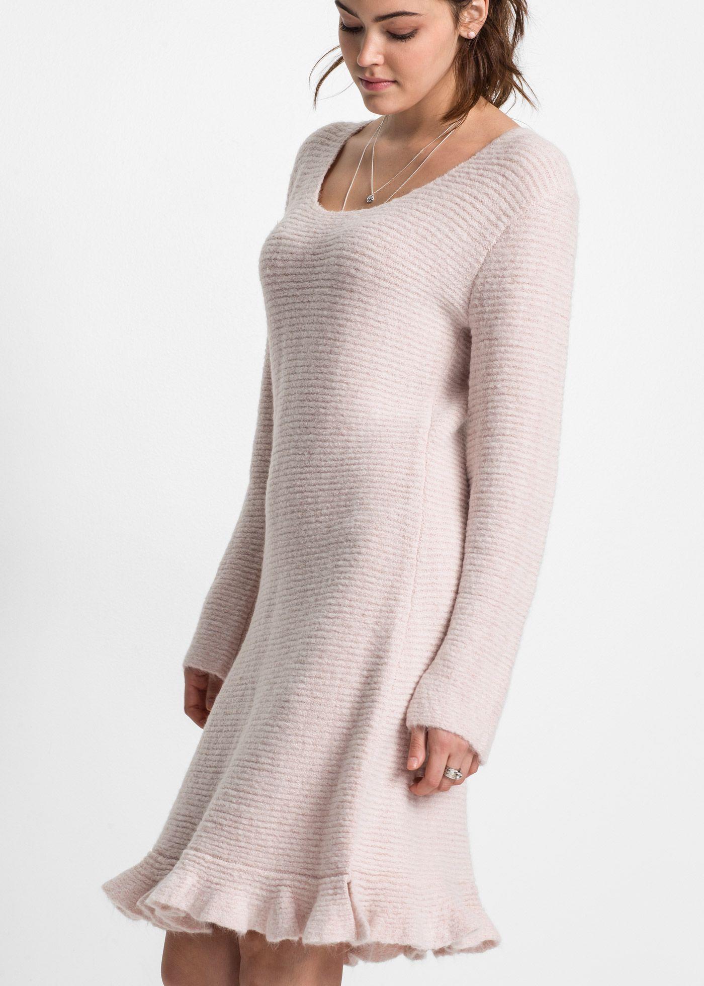 2db81b09cea8 Pletené šaty s volánem růžová vintage - RAINBOW - bonprix.cz
