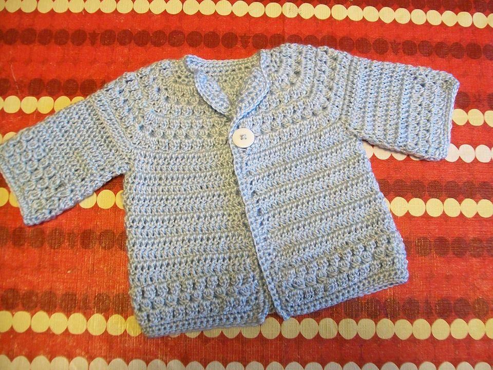 Free Pattern Crochet Baby Cardigan ༺✿ƬⱤღ https://www.pinterest ...
