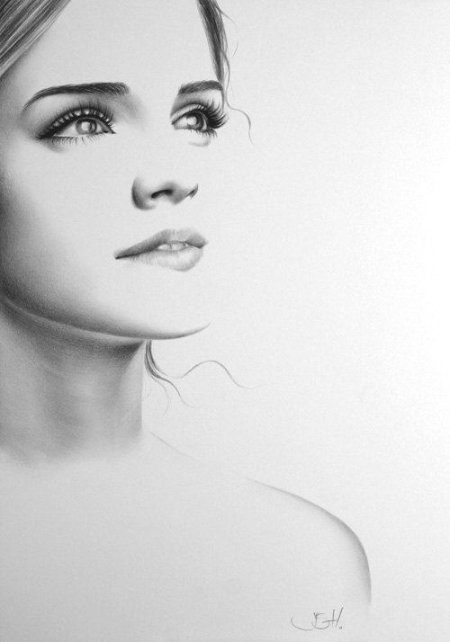 Emma Watson Pencil Drawing Fine Art Portrait PRINT par IleanaHunter, $14.99