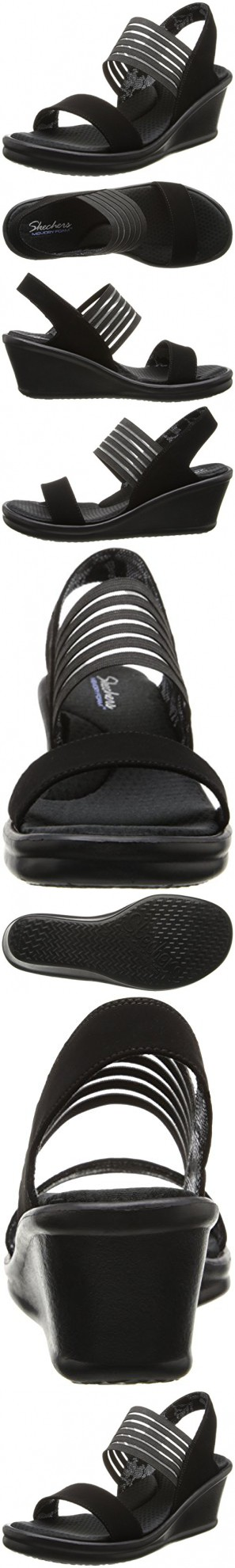 9f37db98af Skechers Cali Women's Rumblers Sci-Fi Wedge Sandal, Black, 11 W US ...