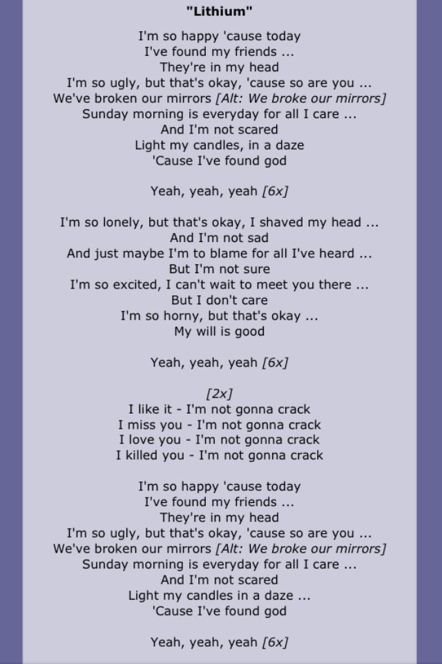 Nirvana Nirvana Lyrics Nirvana Songs Lyrics To Live By