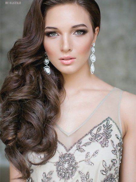 One Side Half Up Wavy Wedding Hairstyle For Long Hair Deer Pearl One ...