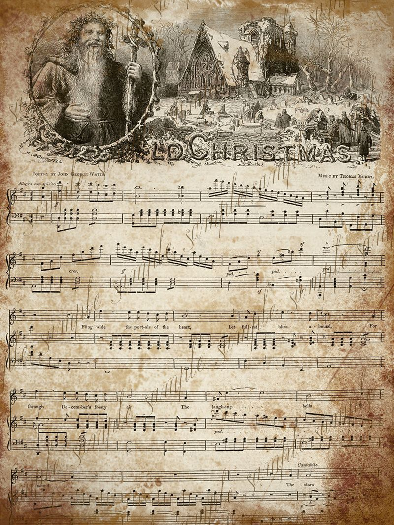 Grungy Aged Vintage Christmas Carol Music - INSTANT Printable ...