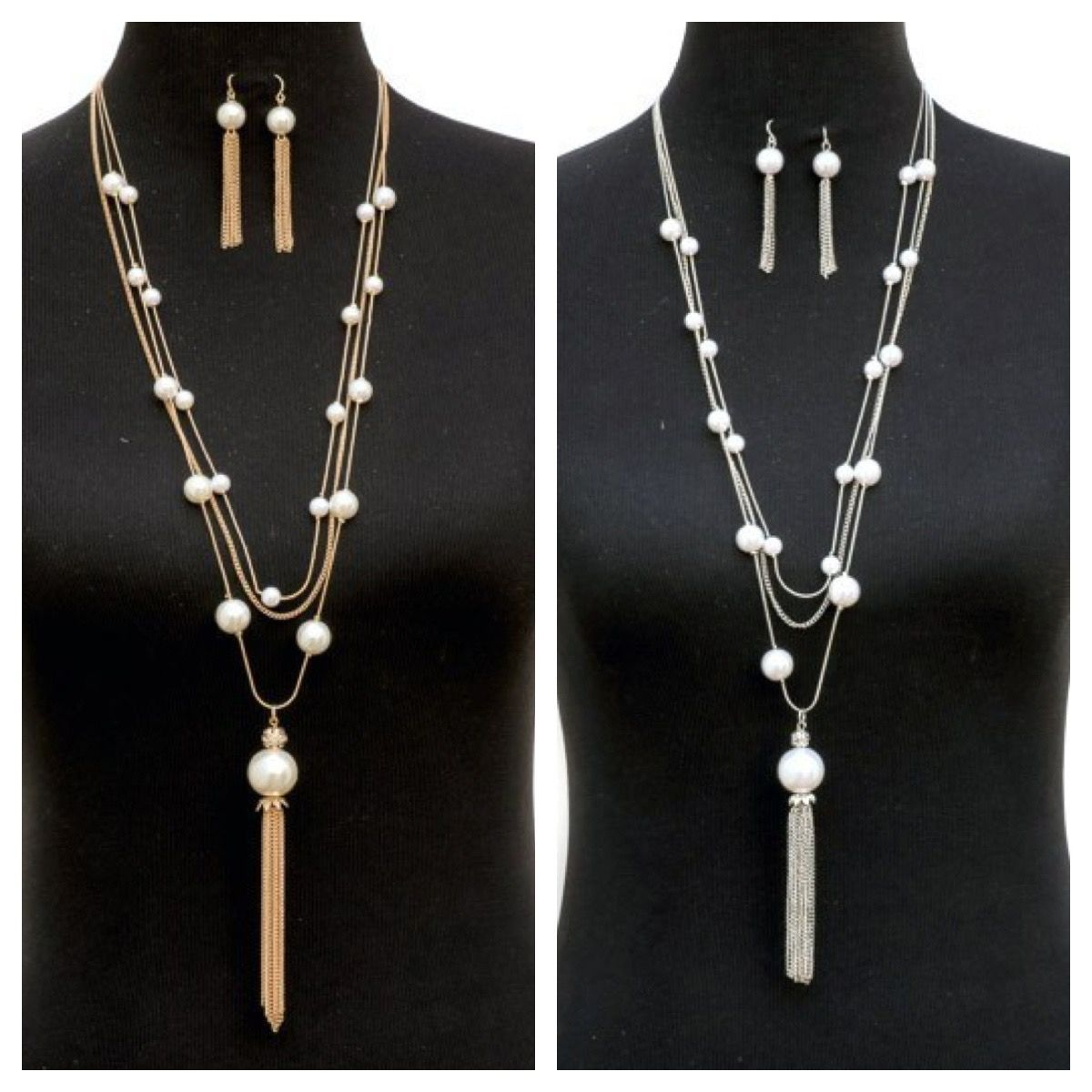 Check out our beautiful three strand pearl necklace and earring set available in silver or gold combo, $36.00 free US shipping, you can get 10% off with code HOL10 right now before they sell out  http://bit.ly/1PkD1K0