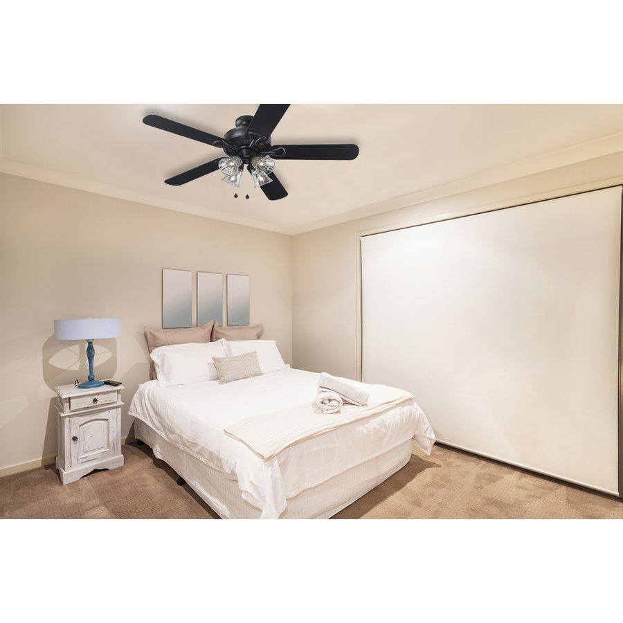 Shop harbor breeze springfield ii 52 in matte black downrod or harbor breeze springfield ii black indoor downrod or close mount ceiling fan with light kit at lowes the harbor breeze springfield ii ceiling fan is aloadofball Choice Image