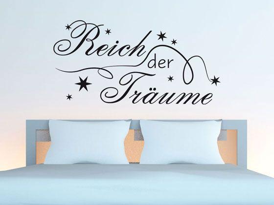 wandtattoo f r schlafzimmer wandaufkleber aufkleber spruch reich der tr ume wanddeko im. Black Bedroom Furniture Sets. Home Design Ideas