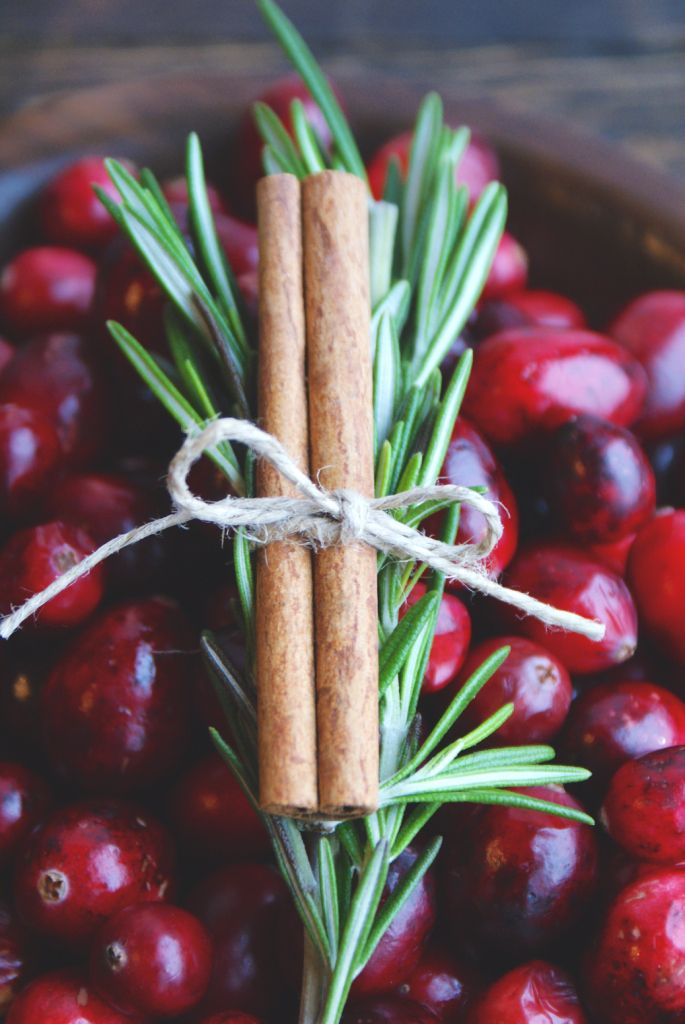Cinnamon stick and rosemary with cranberries.