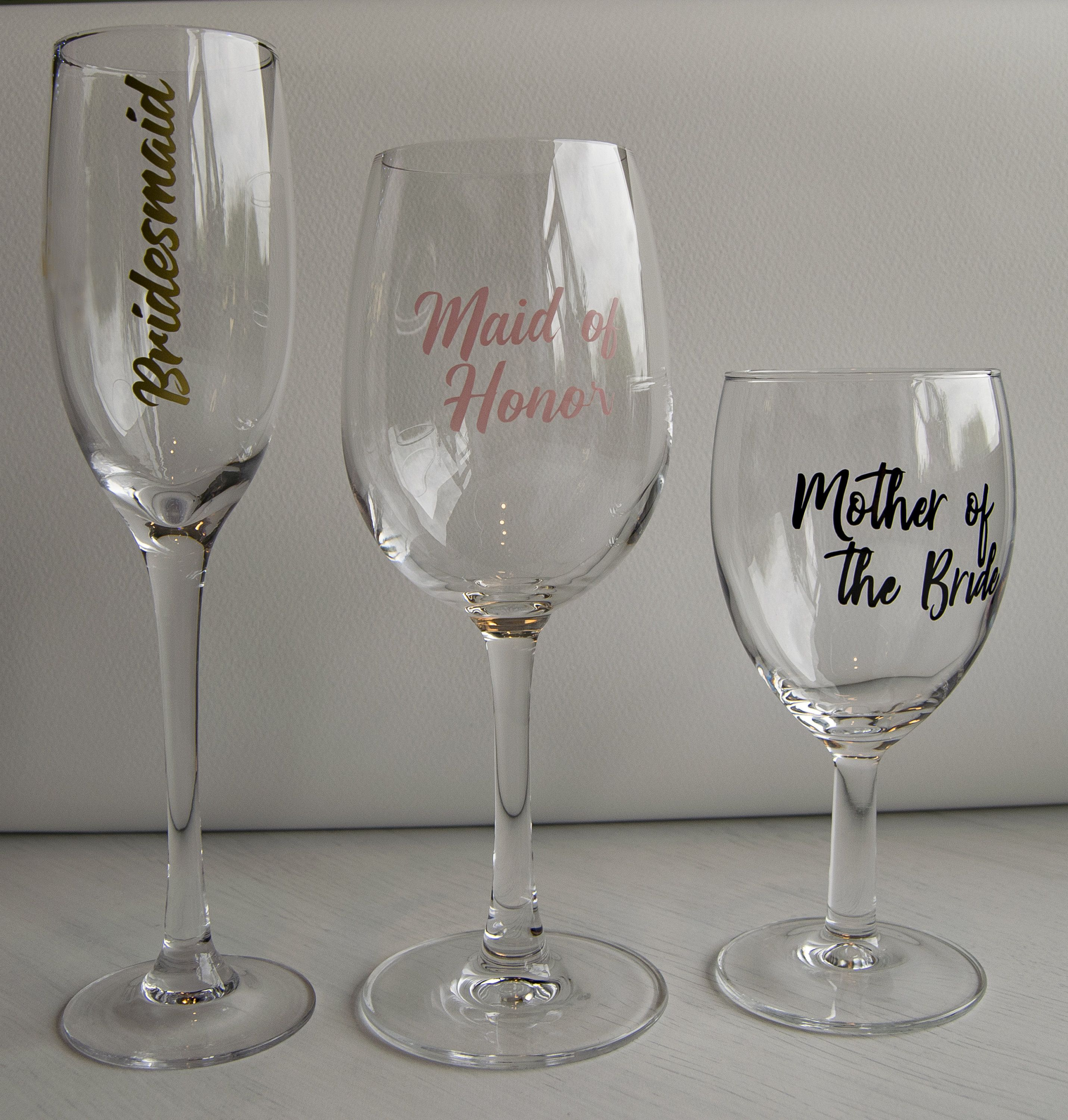 Wedding Bridal Party Vinyl Personalised Custom Champagne Wine glass sticker New
