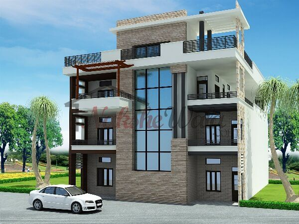 Triple And Multi Storey Elevation 3d Triplex House House House Plans House Styles