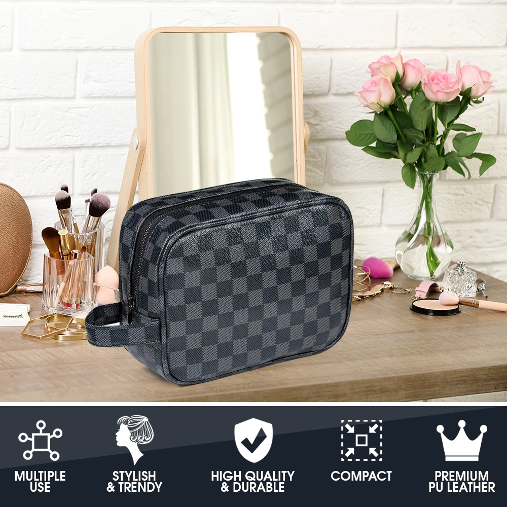 Luxury Checkered Travel Makeup Bag for Women, Cosmetics