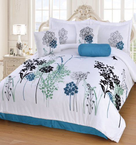 Best 7 Pieces Teal Blue Black Grey And White Flora Comforter 400 x 300