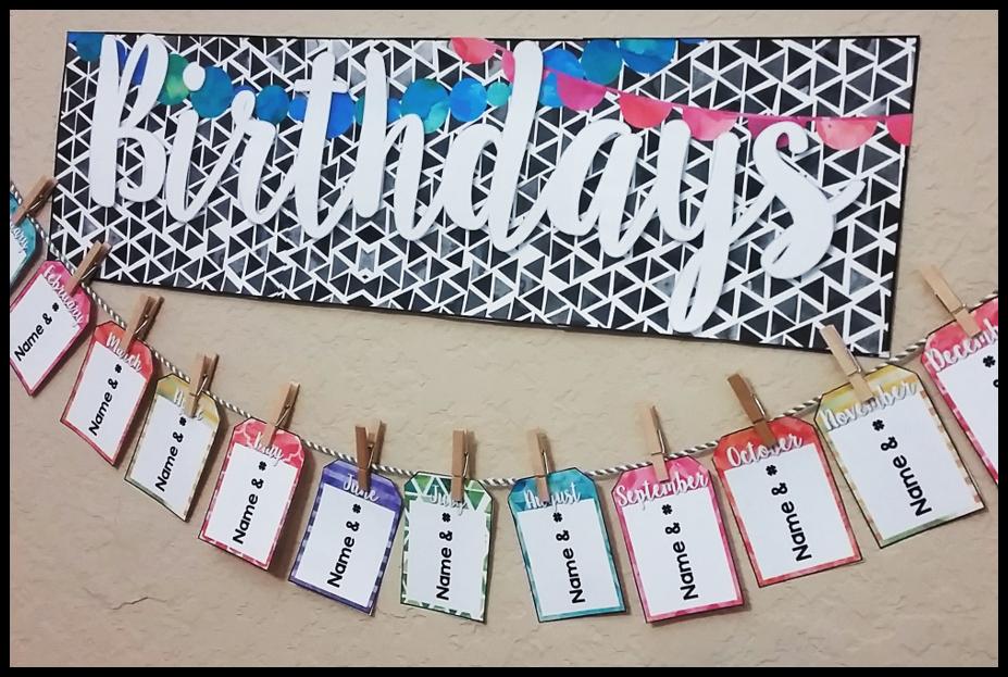 Watercolor Classroom Decor {EDITABLE Birthday Chart ...