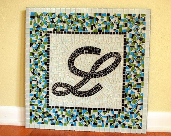 Custom Mosaic Name Art Initial Mosaics by GreenStreetMosaics, $75.00