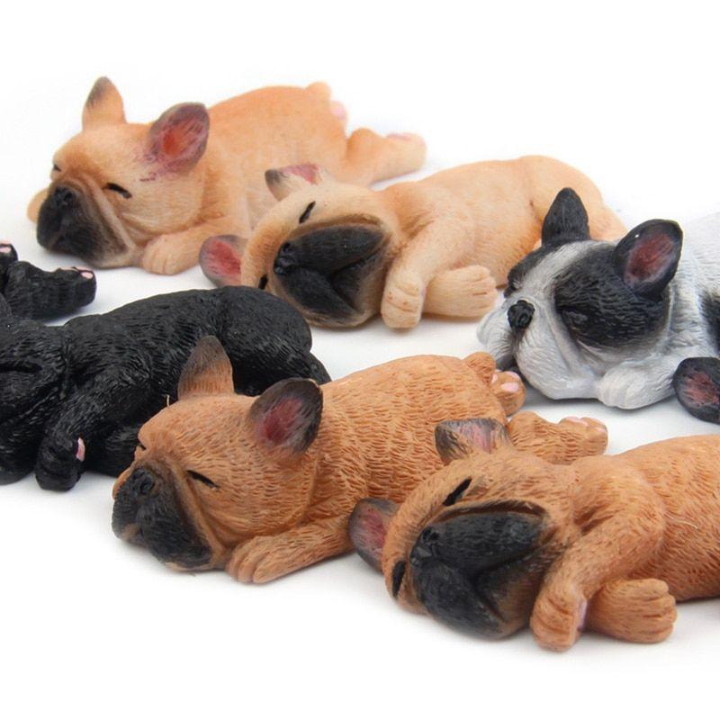 Sleeping Dog Resin Animal Small Furniture Doll Home Decor Fridge Magnet