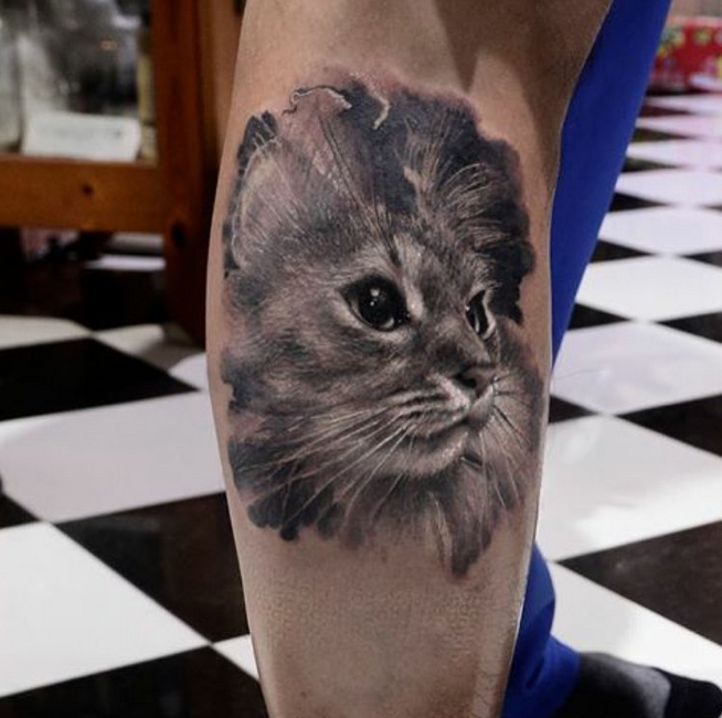 Realistic Looking Black Ink Leg Tattoo Of Cute Cat Portrait Cat Portrait Tattoos Cat Tattoo Cat Portraits