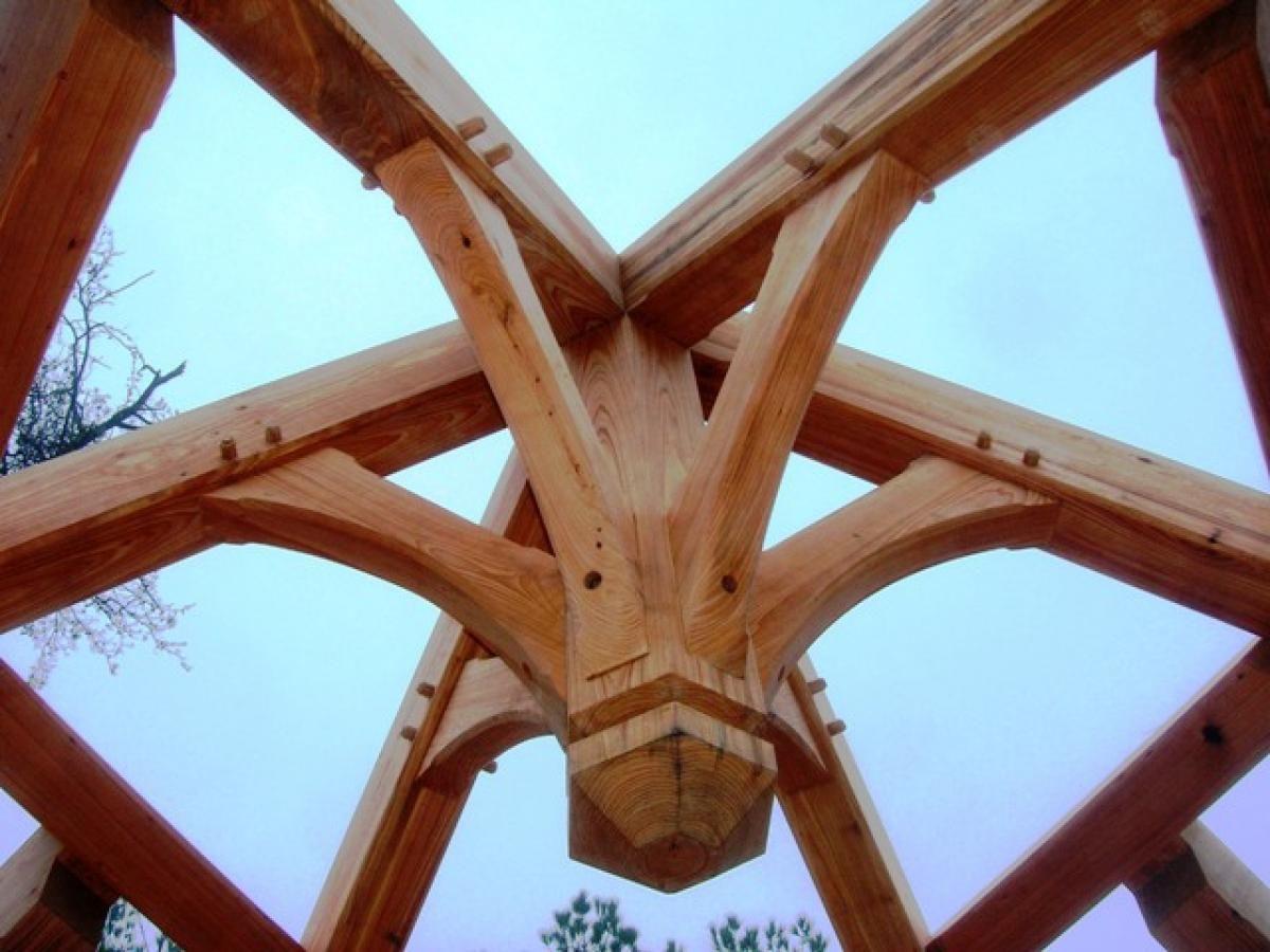 center detail of timber frame gazebo