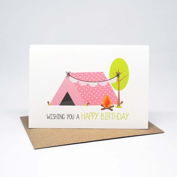 Birthday Card For Girls Girl Birthday Card Girls Camping Tent