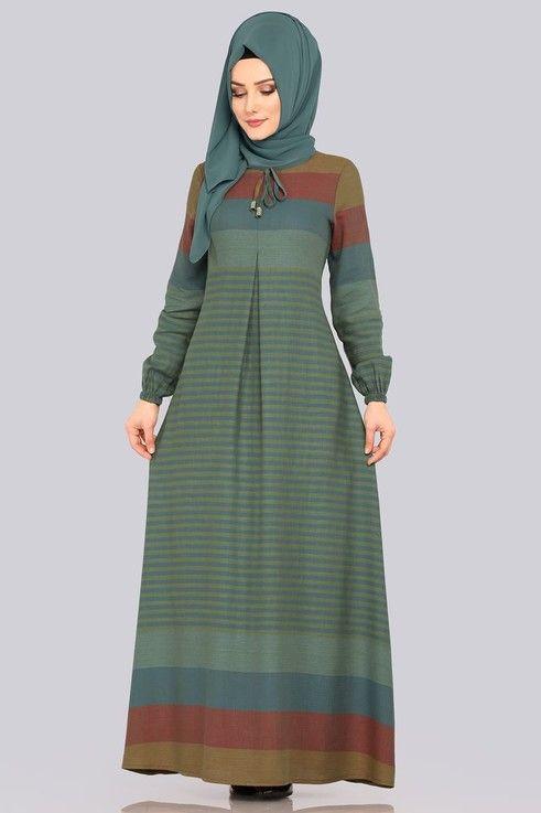 Kruvaze Detayli Tesettur Elbise 5032ef311 Haki Moda Selvim Model Pakaian Model Pakaian Wanita Model Baju Wanita