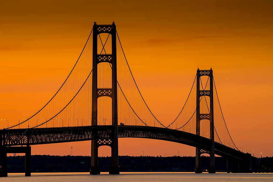 Mackinac Bridge Sunset By Steve Gadomski Mackinac Bridge Mackinaw Bridge Bridge Tattoo