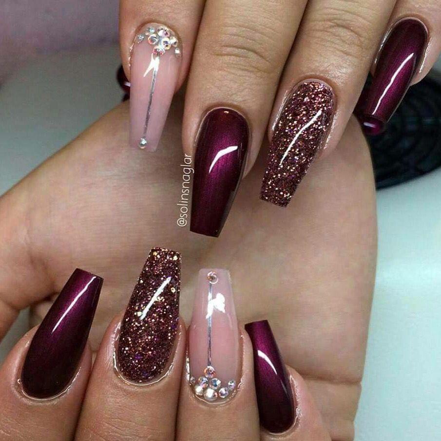 Pink & Bordeaux nail design | Pink Dainty Lady | Pinterest | Art ...