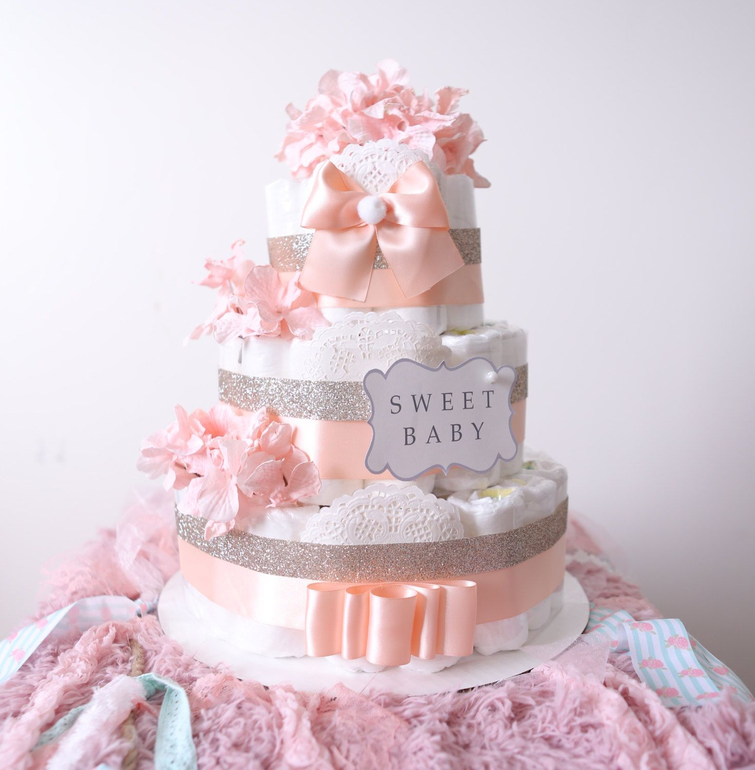 gold blush pink diaper cake for baby girl baby shower centerpiece welcome baby flower. Black Bedroom Furniture Sets. Home Design Ideas