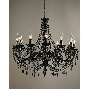 Buttress 12 Arm Black Chandelier