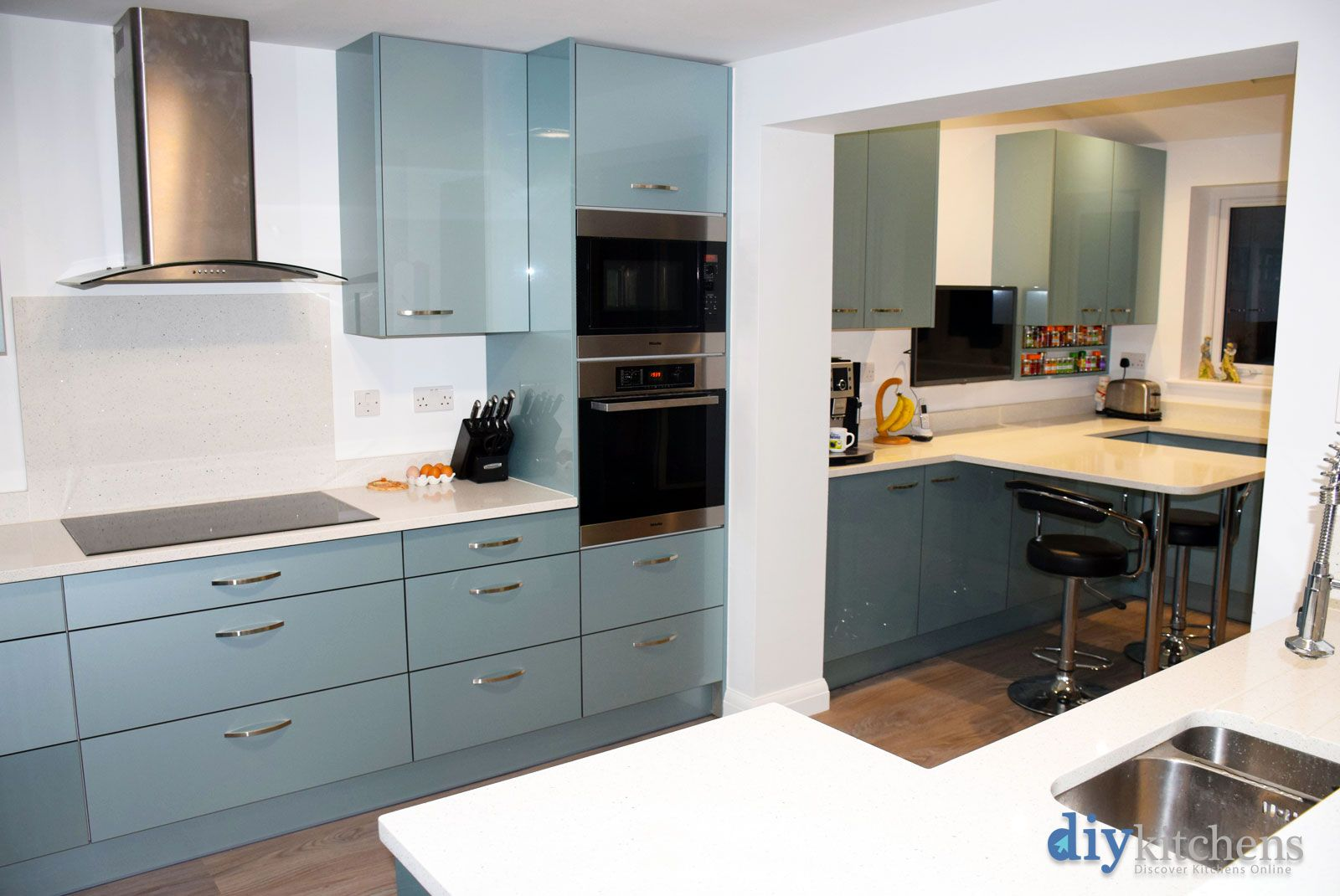 An Innova Altino Petrol Blue High Gloss Kitchen High Gloss Kitchen Cabinets High Gloss Kitchen Cheap Kitchen Units