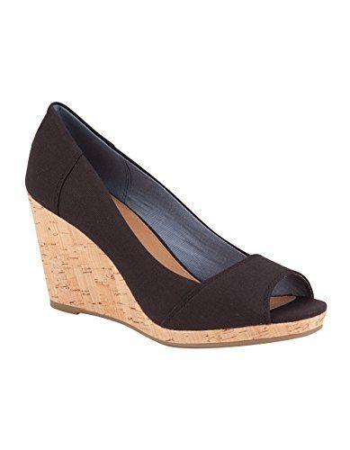 818d2c7c46 Toms Women's Stella Wedge Black Canvas Casual Shoe 6.5 Women US... Take your