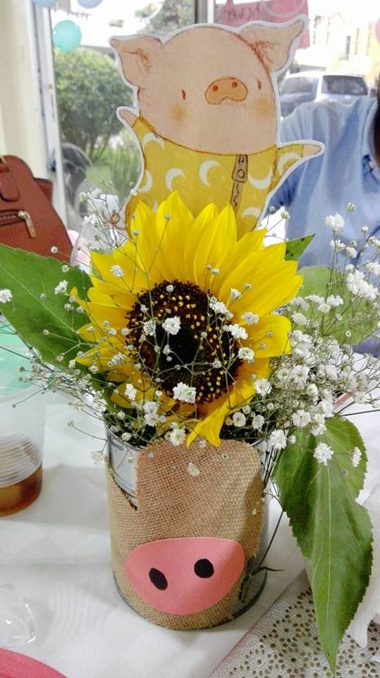 Pig theme centerpiece sunflowers baby shower events