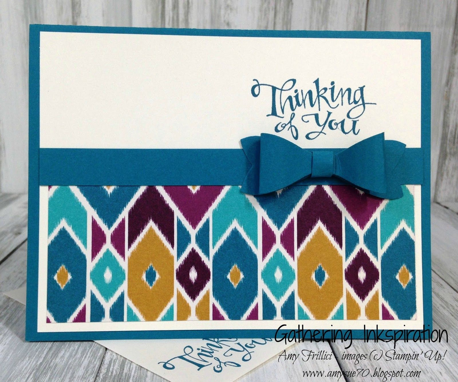 handmade greeting card, thinking of you, bold pattern, paper bow, DIY, demonstrator, paper crafting, easy, stamping, greeting card, craft, paper, *Stampin' Up, by Amy Frillici, Gathering Inkspiration Stamp Studio, order products online at amysuzanne.stampinup.net