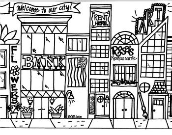 Cityscape Coloring Sheet In 2020 Coloring Pages Mandala