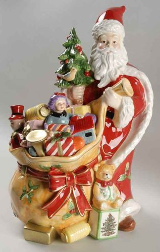 Vintage Christmas Eve Santa Cookie Jar By Spode Cookie Jars Vintage Christmas Cookie Jars Antique Cookie Jars