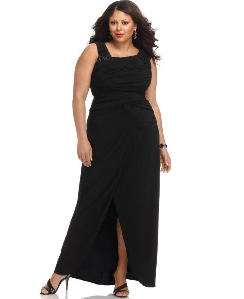 Adrianna Papell Plus Size Dress Sleeveless Ruched Black Evening Gown